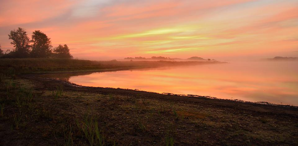 Dawn, Panoramic, Nature, Pond