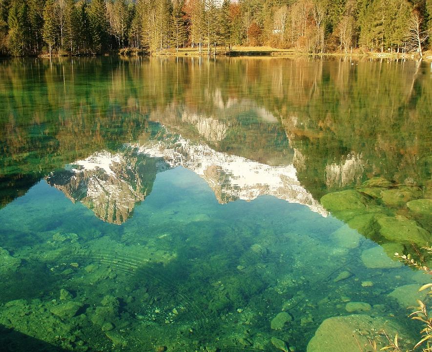 Schieder Pond, Pond, Natural Lake, Mirroring, Mountains
