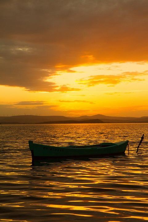 Boat, Sunset, Pond