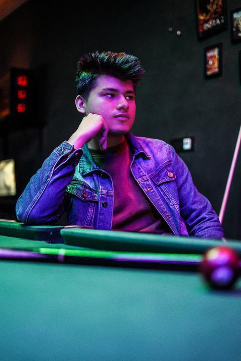 Male, Neon, Model, Pool, Games, Indoor, Disco, Portrait