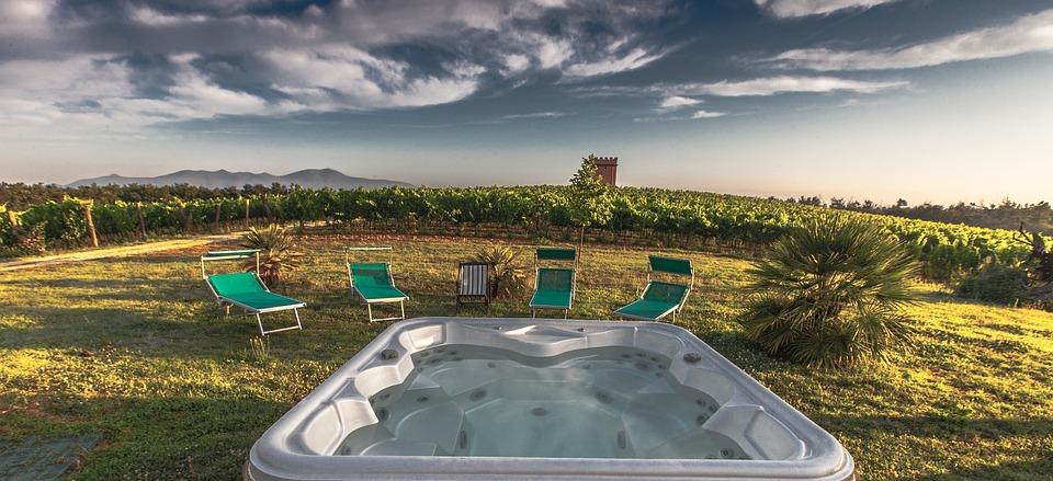 Pool, Garden, Chairs, Tuscany, Grape, Field, Nature