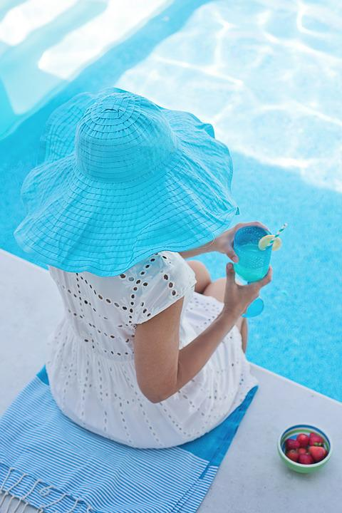 Summer, Pool, Hat, Woman, Turquoise, Water, Leisure