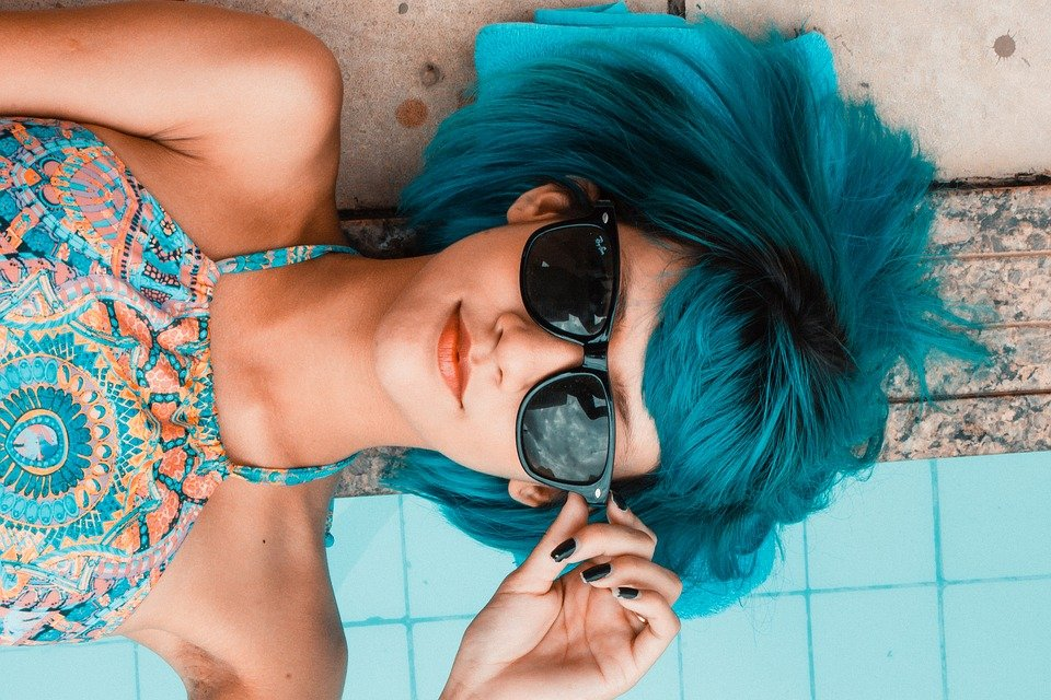 Blue, Glasses, Pool, Detail, Vista, Look, Vision, Light