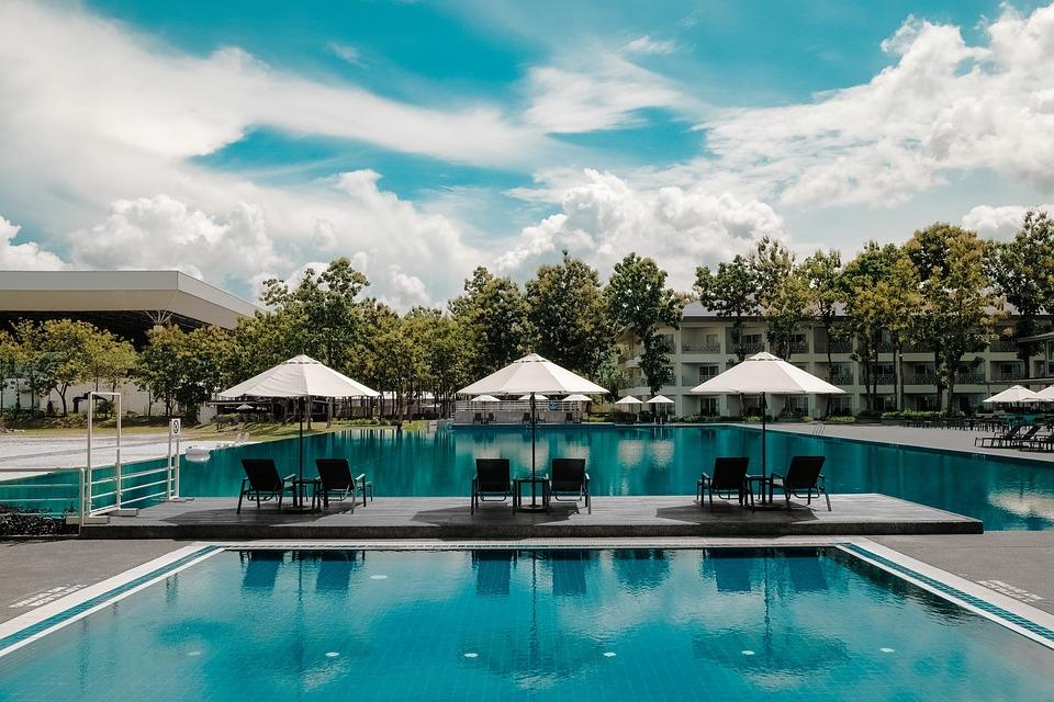 Blue, Sky, Nature, Trees, Resort, Swimming, Pool, Water