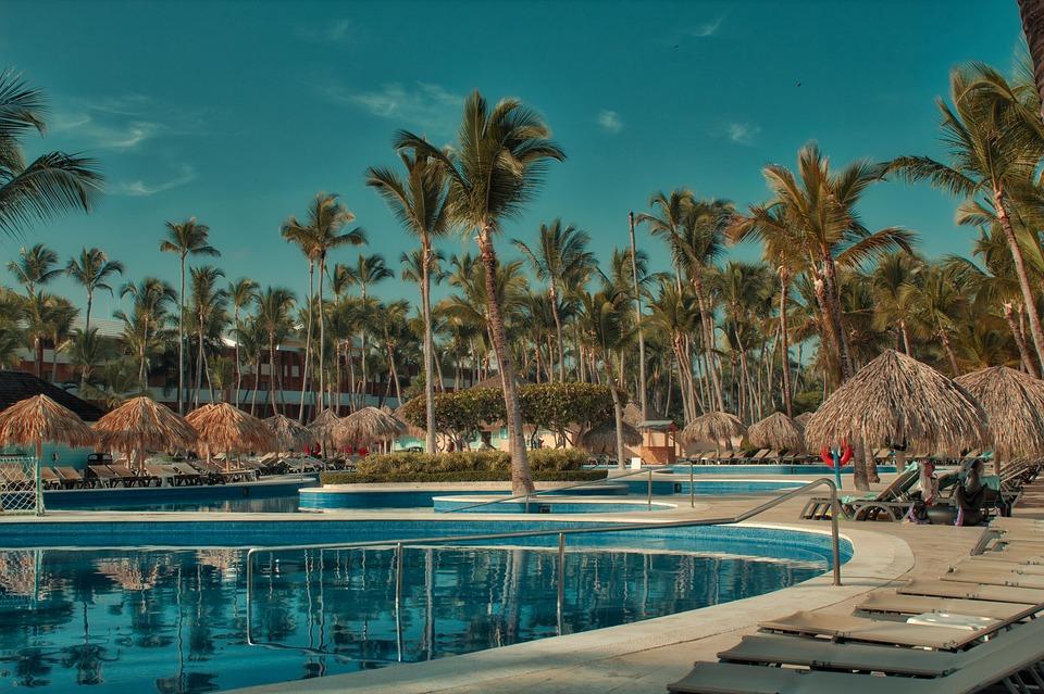 Hotel, Pool, Domrep, Palm, Holiday, Blue Sky, Poolbar
