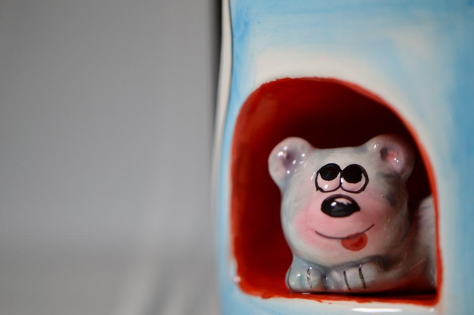 Mouse, Mouse Hole, Porcelain, Funny, Porcelain Figurine