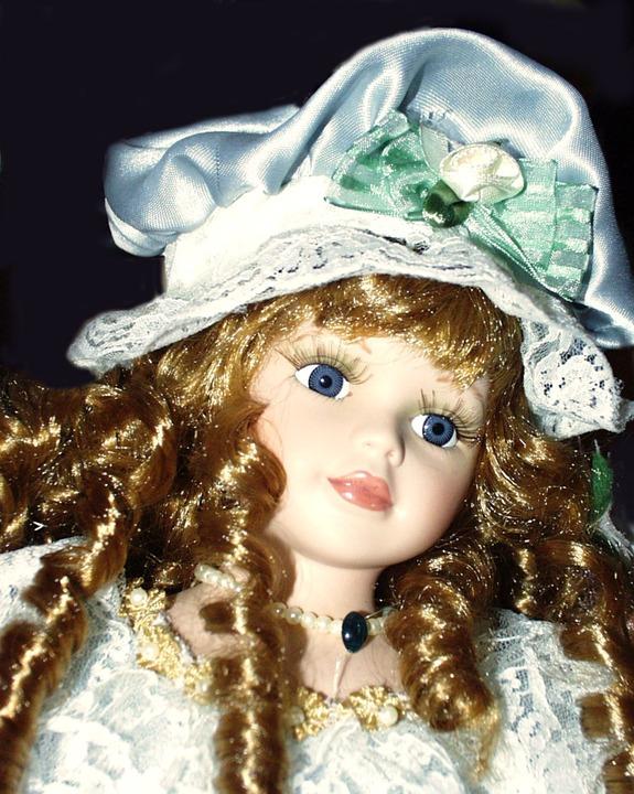 Porcelain, Dolls, Toy, Vintage, Girl, Dress, Hat