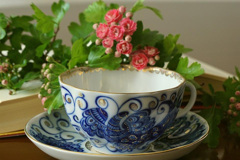 Cobalt Cup, A Cup Of Tea, Plate, Porcelain, Glass
