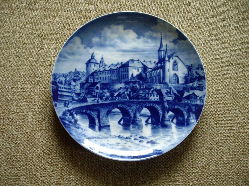 Decorative Plate, Blue, Porcelain, Plate