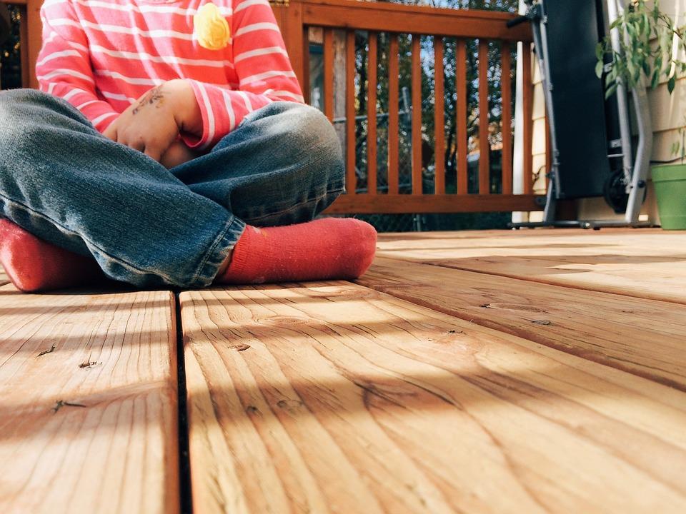 Wood, Deck, Child, Kid, Porch, Backyard