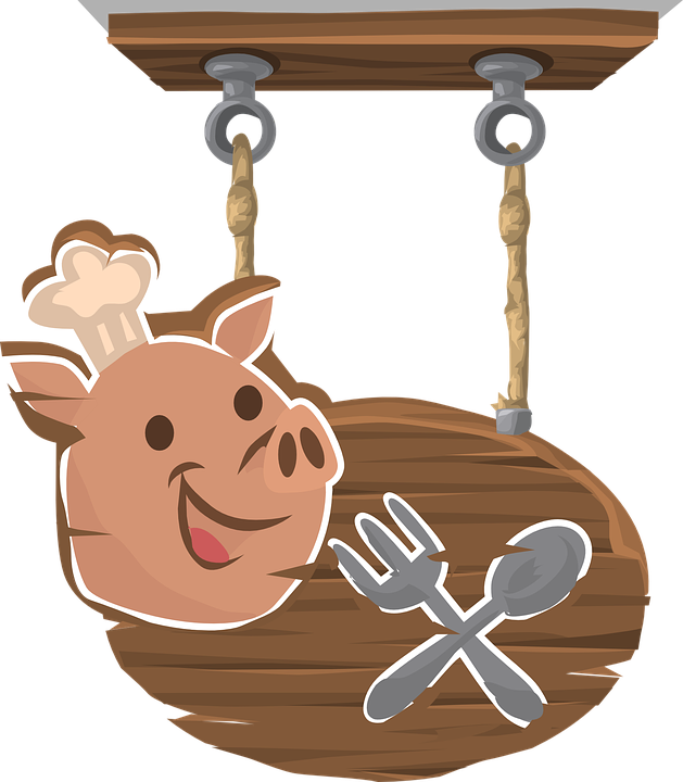 Pig, Pork, Sign, Hanging, Signage, Restaurant, Diner