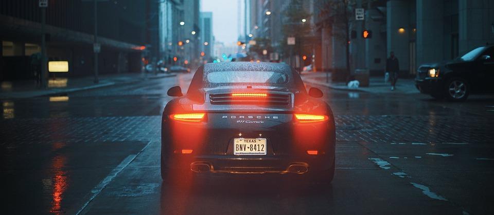 Buildings, Car, City, Porsche, Rainy, Road, Street