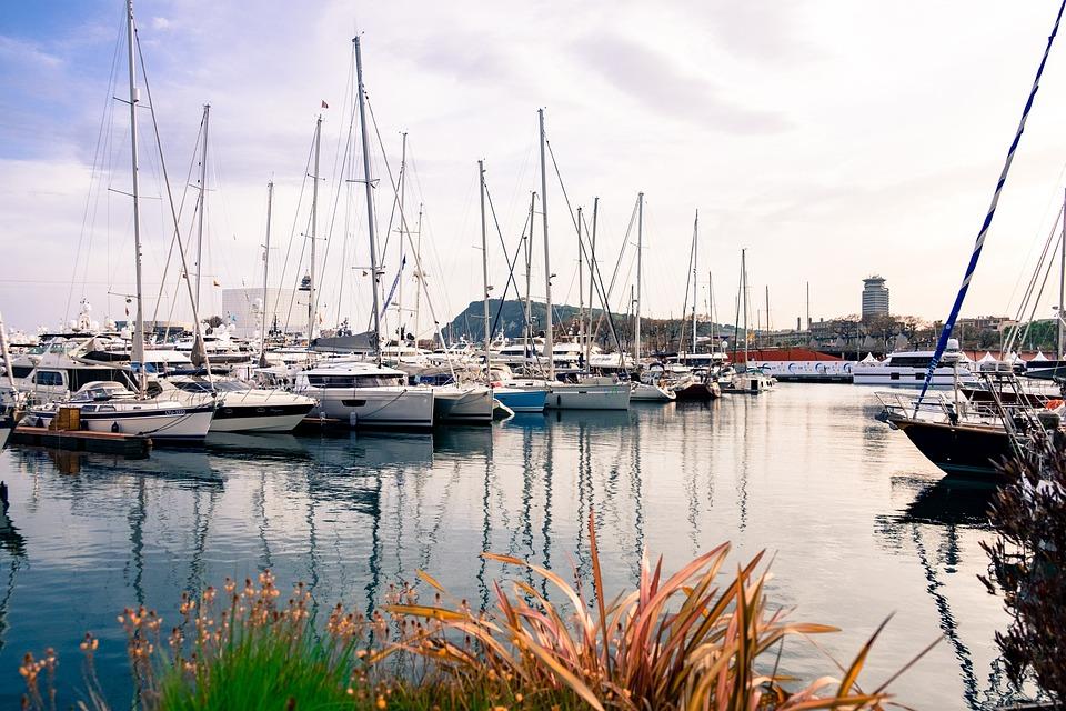 Boats, Sunset, Port, Barcelona, Boat, Landscape, Beach