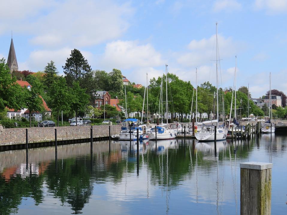 Boats, Sea, Port, Dock, City, Eckernförde, Germany