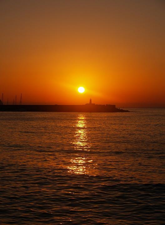 Dawn, Sea, Port, Orange, Sun, Calm, Peaceful, Summer