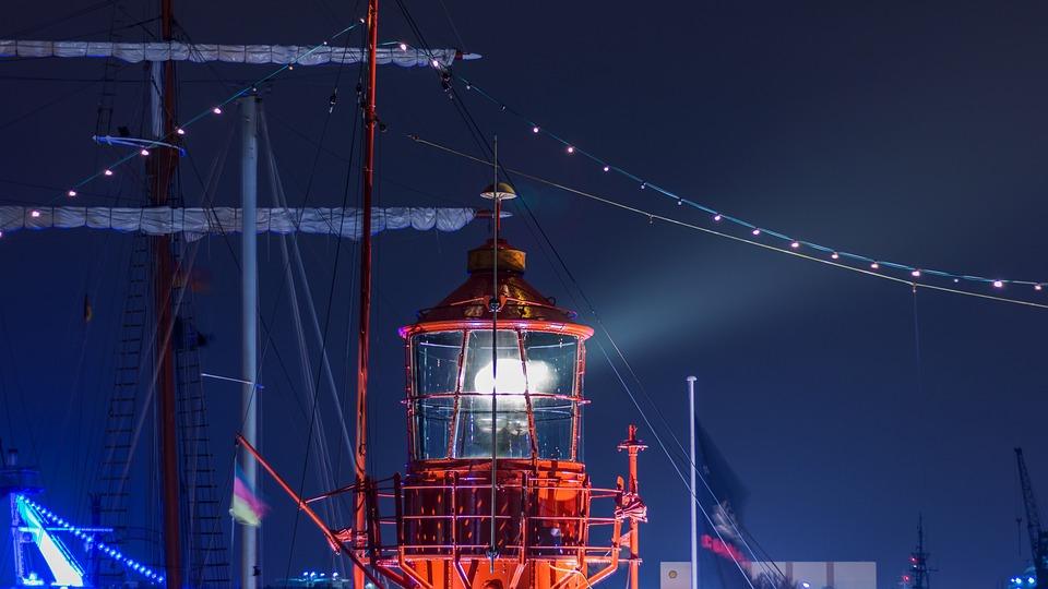Illuminated, Travel, Hamburg, Port, Lighthouse, Lights
