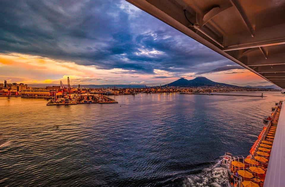 Volcano, Cruise, Port, Harbor, Sea, Naples, Vesuvius
