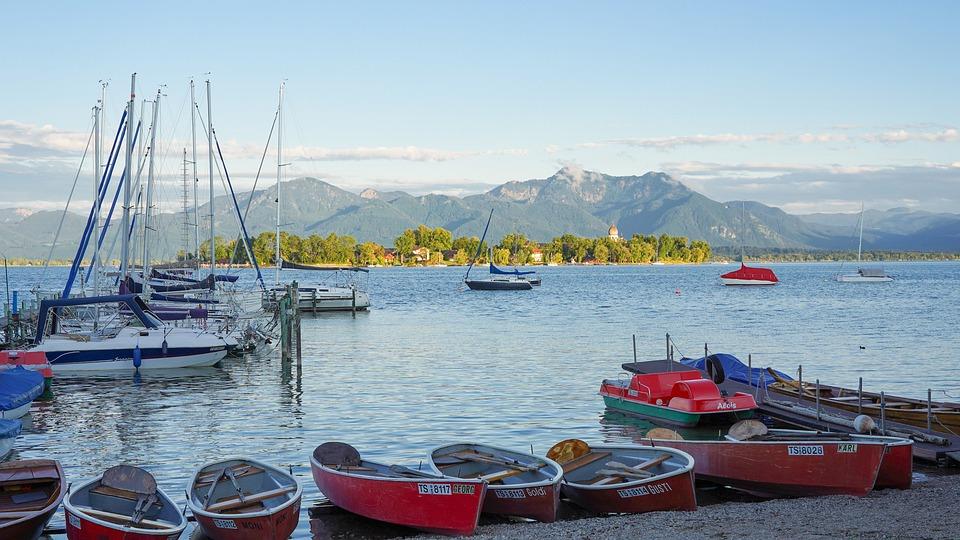 Lake, Boats, Port, Island, Landscape, Nature, Mountains