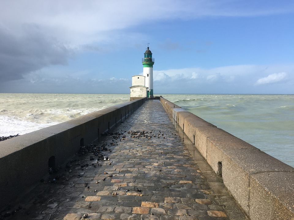Lighthouse, Sea, Sky, Nature, Port, Landscape