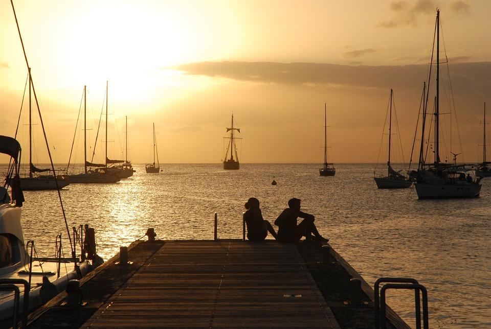 Sunset, Dock, Boats, Jetty, Port, Sea, People, Women