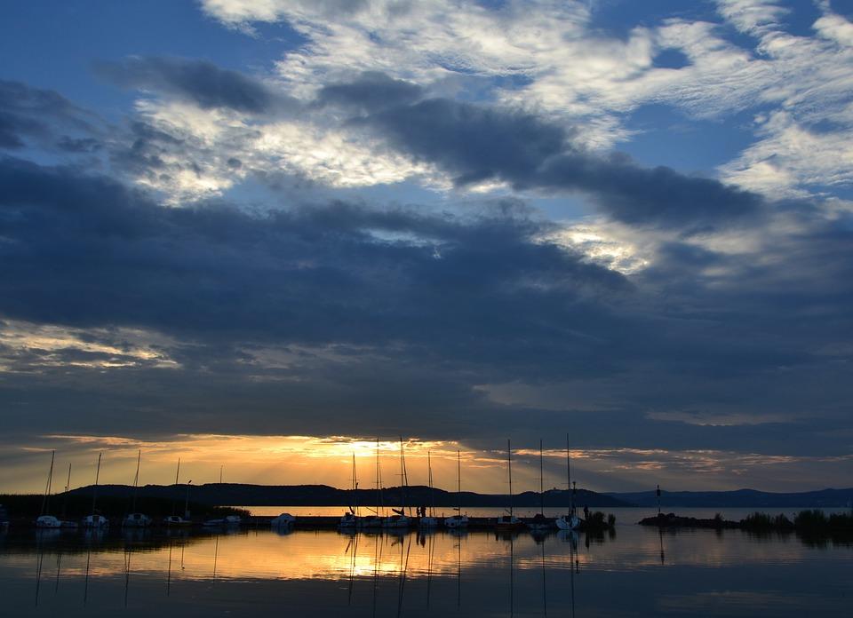 Lake Balaton, Zamárdi, Sunset, Cloud, Sailing, Port