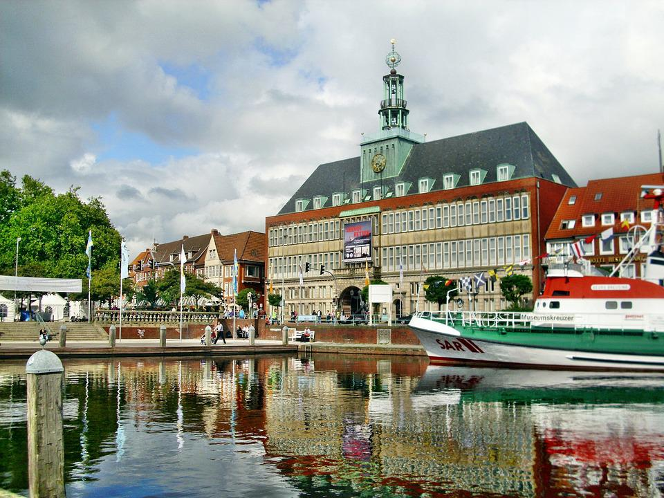 Emden, Town Hall, Ship, Port