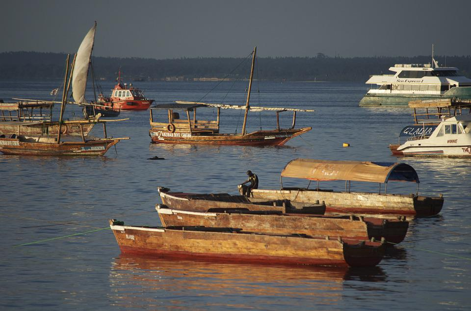 Port, Sunset, Tanzania, Dhow Boats
