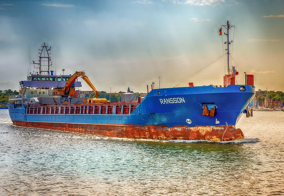Ship, Freighter, Technology, Metal, Rusty, Blue, Port