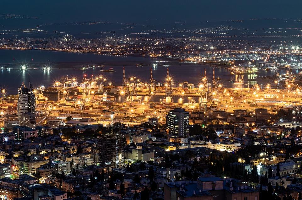 Night, City, Lights, Urban, Cityscape, Dark, Town, Port