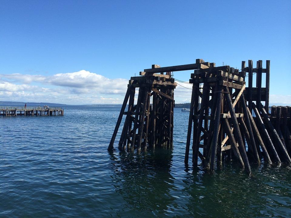 Ocean, Pier, Port Town, Sea, Dock, Pacific, Coast