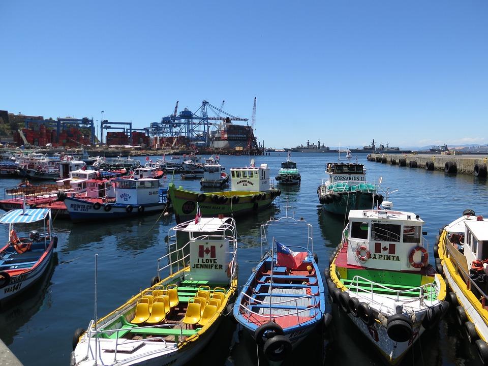 Valparaiso, Chile, Port, Day, Boats