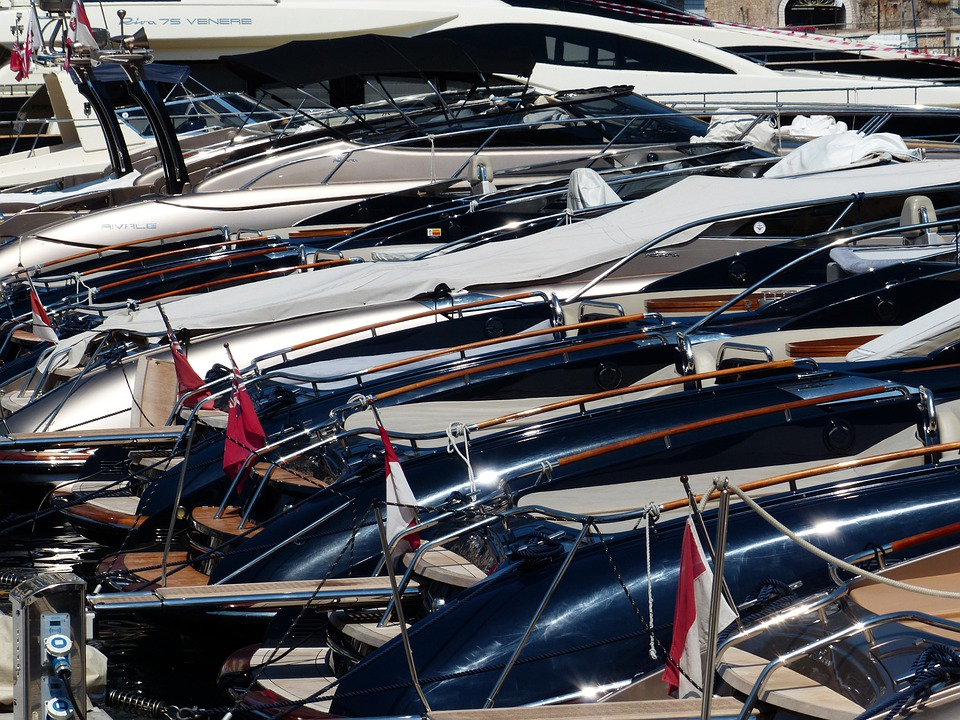 Yachts, Boats, Densely Crowded, Port, Monaco, Pushed
