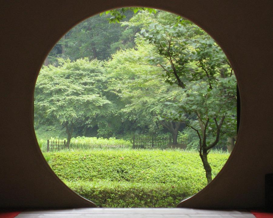 Zen, Portal, Japan, Circle, Doorway, Window, Gateway
