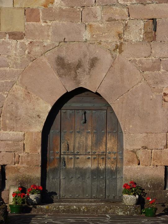 Door, Portal, Arc, Medieval, Carved Stone, Navarre