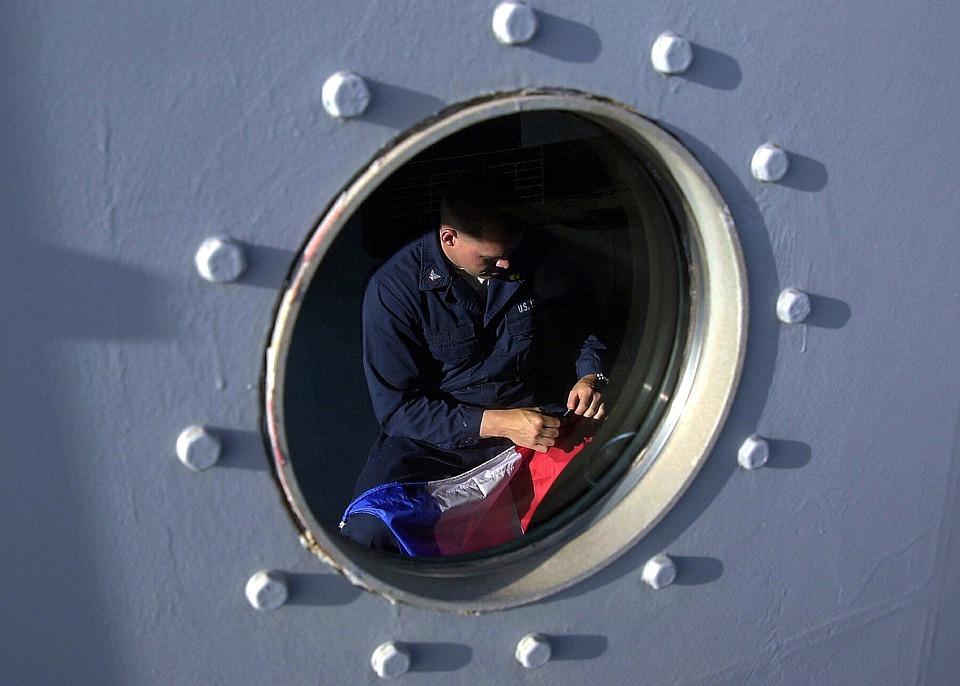 Ship, Porthole, Man, Mending A Flag, Us Navy, At Sea