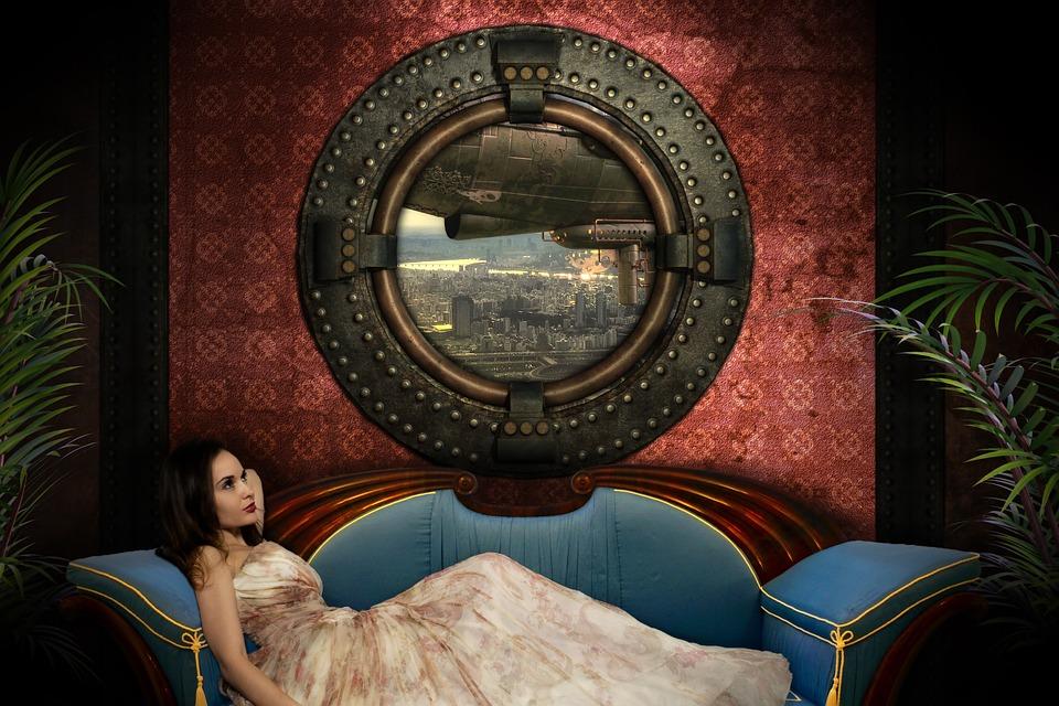 Steampunk, Girl, Portrait, Woman, Composing, Airship