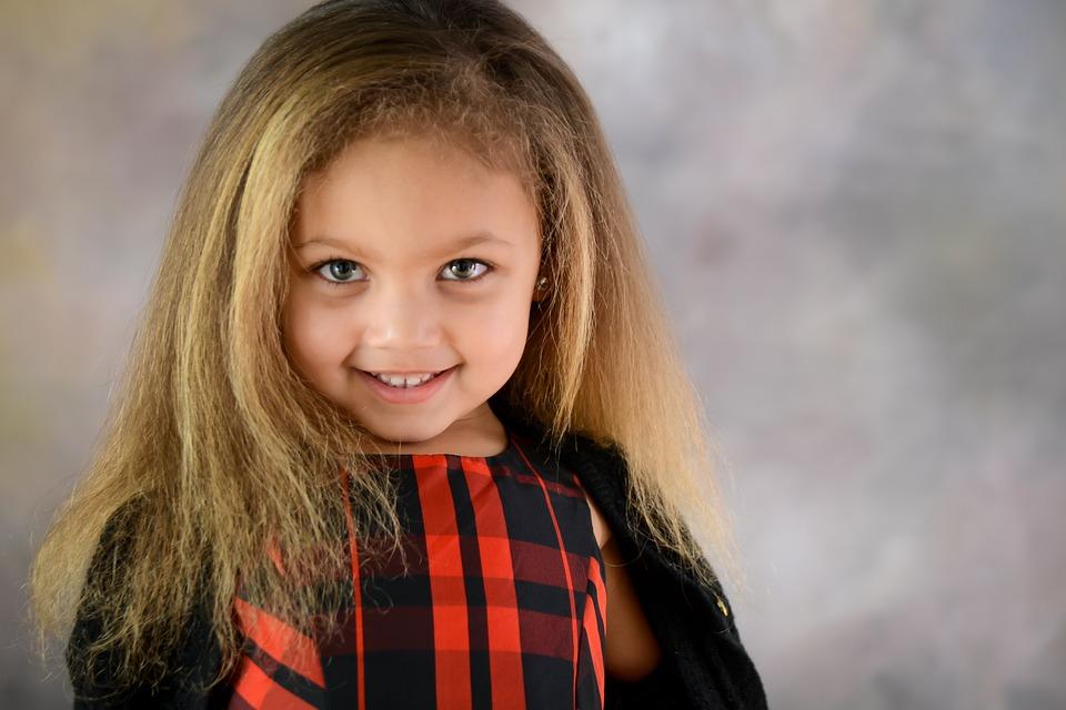 Girl, Portrait, Young, Female, Hair, Smile, Caucasian