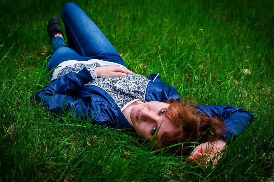 Girl, Girl In The Grass, Portrait, Photoshoot, Park