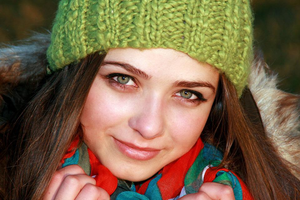 Girl, Green Eyes, Hat, Green, Cold, Portrait, Beauty