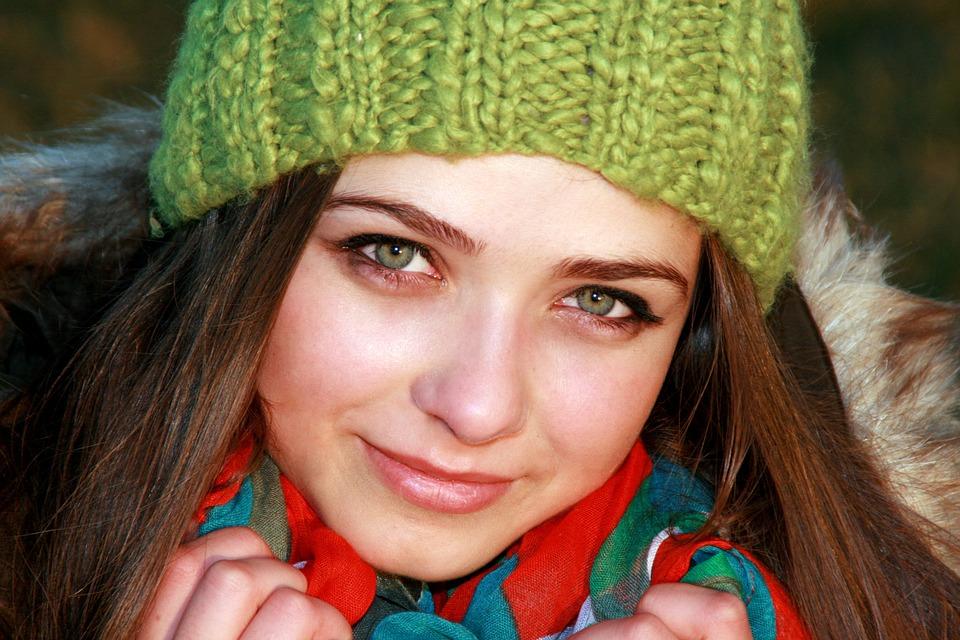 Girl, Green Eyes, Hat, Green, Cold, Portrait, Beauty