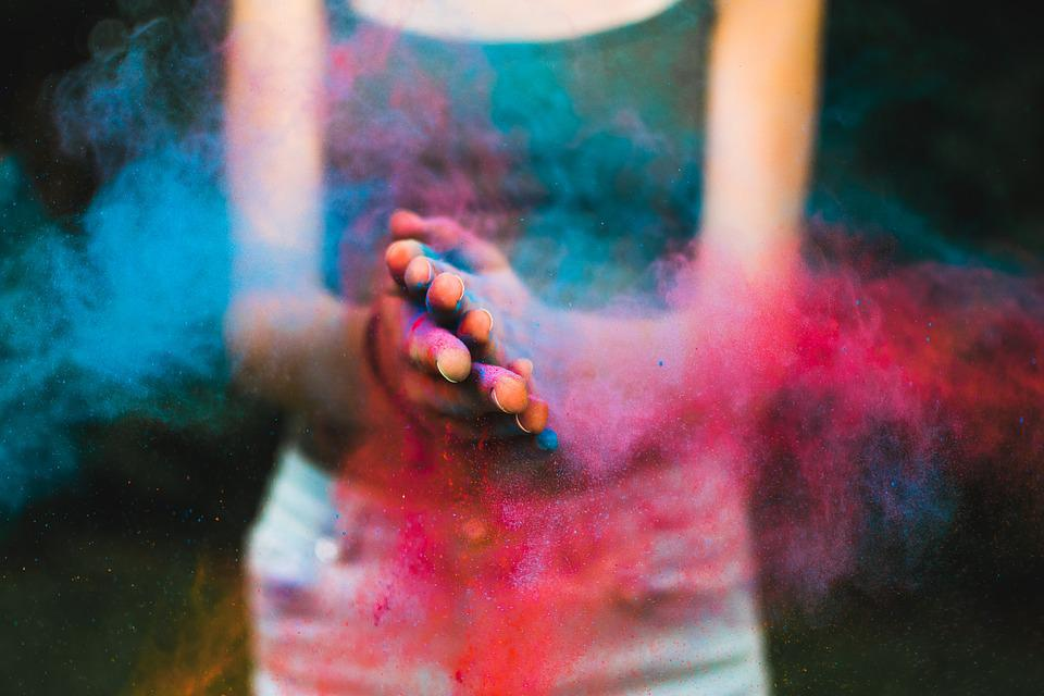 Colors, Powder, Color, Holi, Portrait, Blue, Girl, One