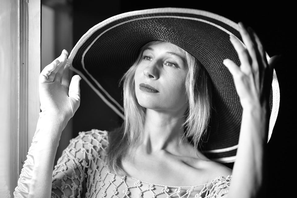 Wide-brimmed Hat, Portrait, Monochrome