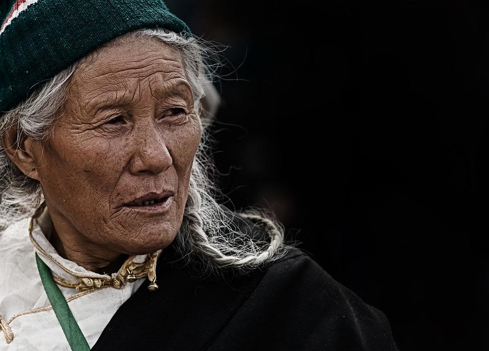 Woman, Elderly, Tibet, Nepal, Portrait, Face, Wrinkled