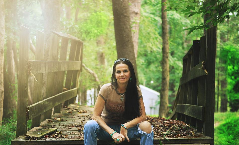 Woman, Portrait, Sitting, Bridge, Nature, Outdoors
