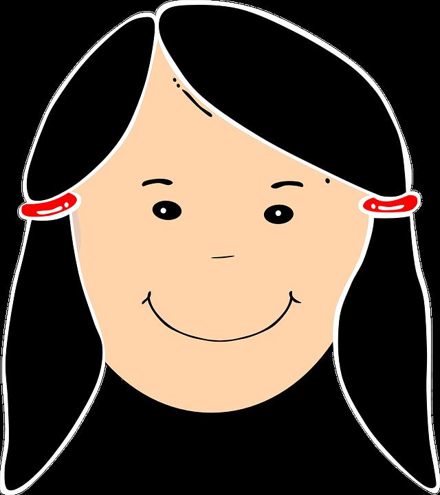 Girl, Head, Portrait, Smiling, Hair, Black, Female