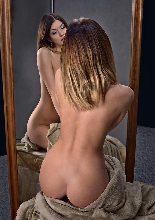 Girl, The Act Of, Mirror, Beauty, Portrait, Character