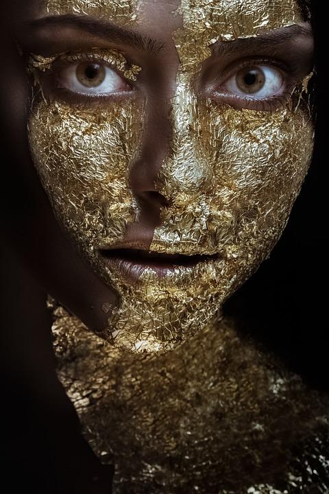 Woman, Beauty, Girl, Gold, Face, Person, Portrait
