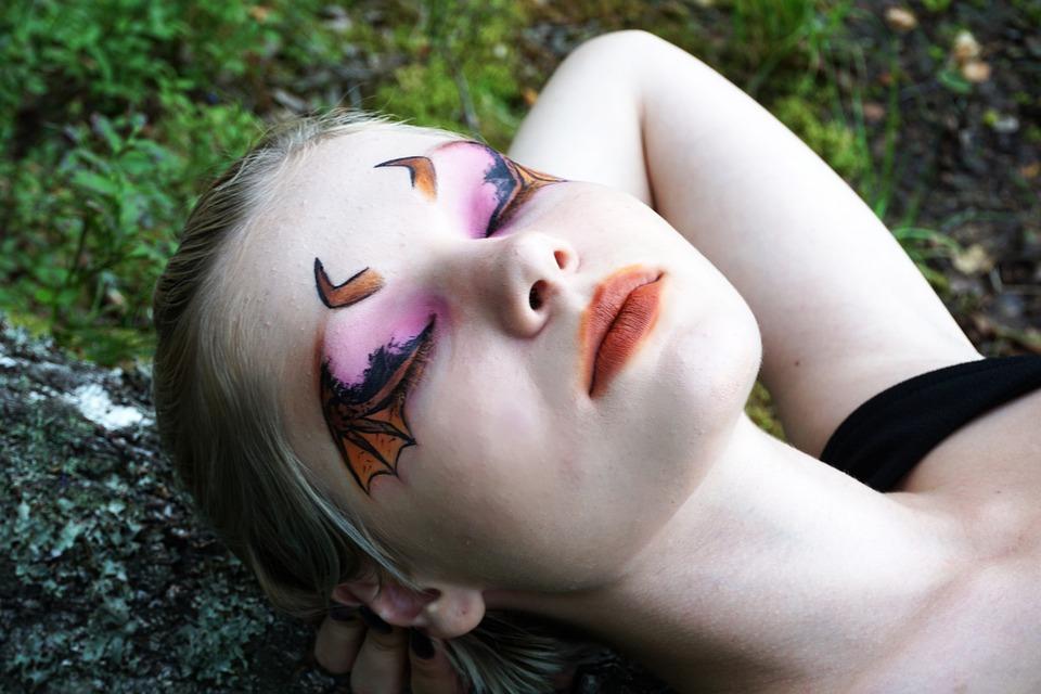 Woman, Body Painting, Portrait, Makeup, Halloween