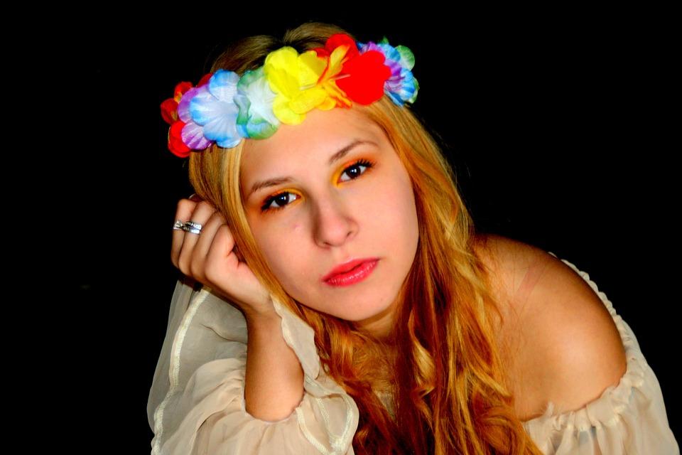 Girl, Portrait, Princess, Blond Hair, Wreath, Eye