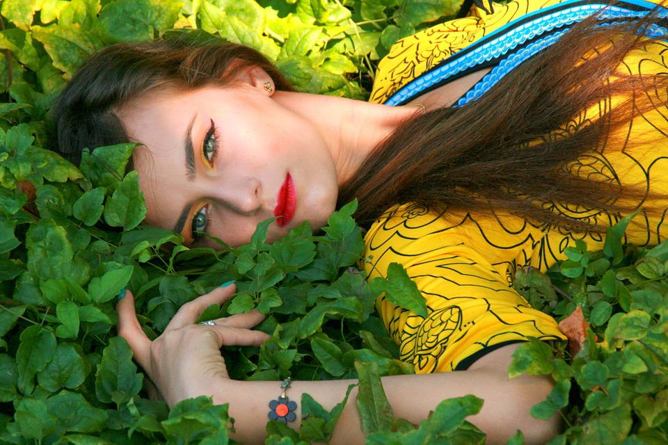 Girl, Portrait, Vegetation, Beauty, Seductive, Yellow